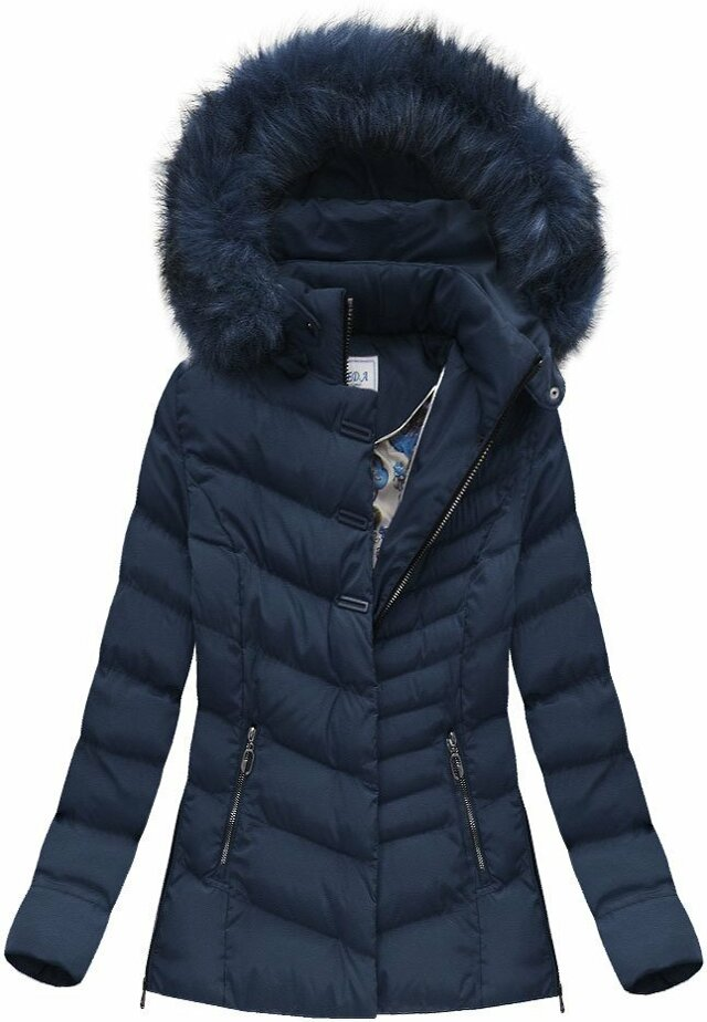 Tmavě modrá dámská zimní bunda (W583) - S (36) - tmavěmodrá