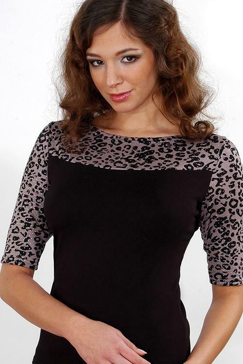 Dámská halenka Violana Megan pink-black - krátký rukáv - XL - staro růžová-černá