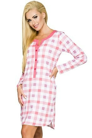Dámská noční košile Marcela kostky růžová - XL