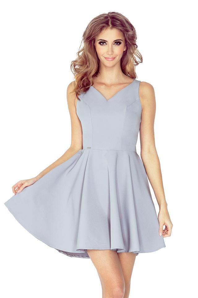Šedé šaty s kolovou sukní MM 014-3 - M