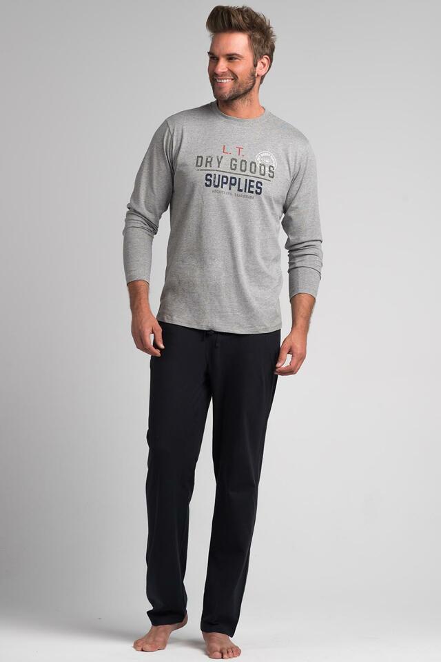 Pánské pyžamo Rossli SAM-PY 074 - 2XL - šedá/tm.šedá