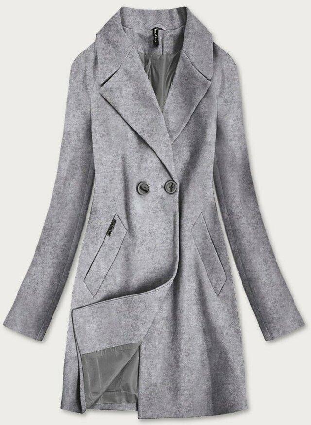 Šedý dvouřadový dámský kabát (2721) - S (36) - šedá