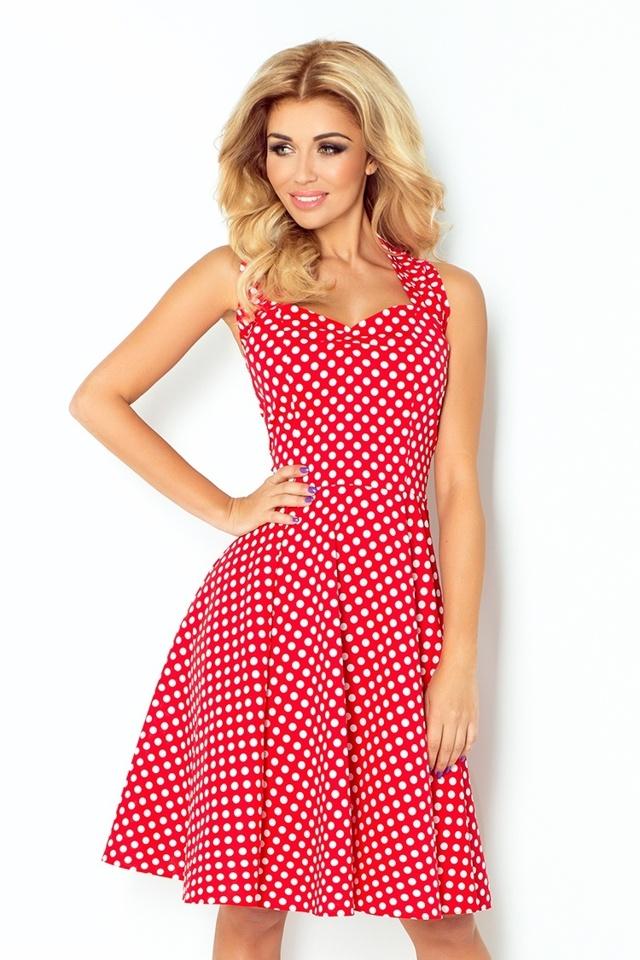 Červené rockabilly pin up šaty s drobnými puntíky 30-19 - UNI
