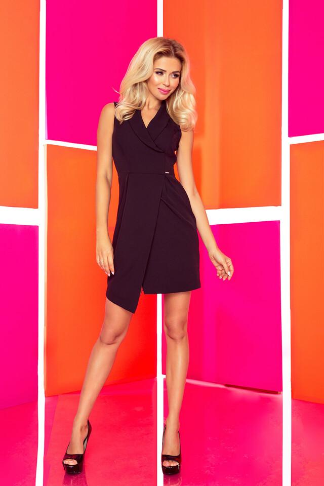 Černé šaty se širokým límcem 153-4 - S