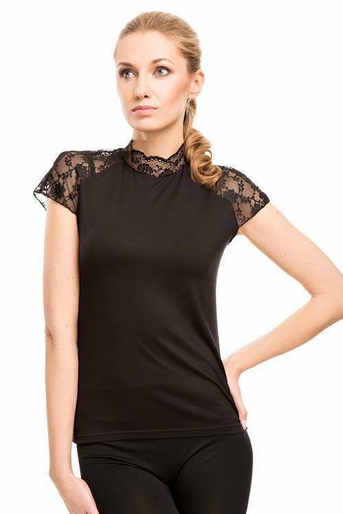 Dámská halenka Violana Siena black - krátký rukáv - XL - černá