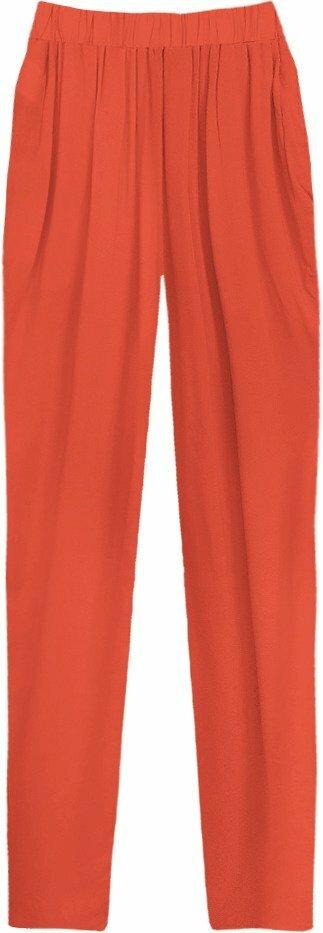Volné kalhoty v cihlové barvě s nařaseným pasem (9222) - S (36) - oranžová