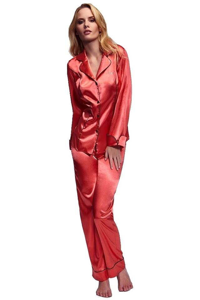 Luxusní saténové pyžamo Hayley korálové - S