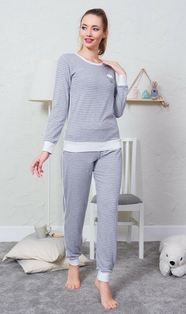Dámské pyžamo dlouhé Lucie - šedá S