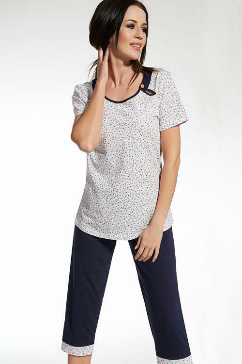 Dámské pyžamo Cana 317 XXL - XXL - bílá-granátová (modrá)
