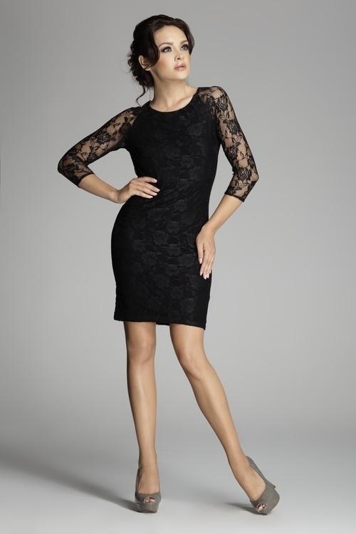 Dámské šaty M076 black - L - černá