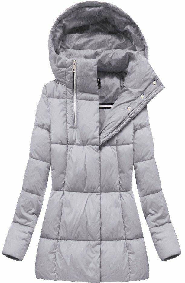 Šedá dámská zimní bunda krátká (7750BIG) - 50 - šedá