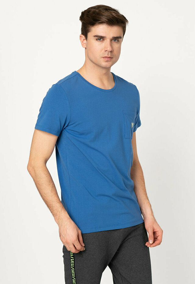 Pánské tričko U94M04JR04Q-E714 modrá - Guess - XL - modrá