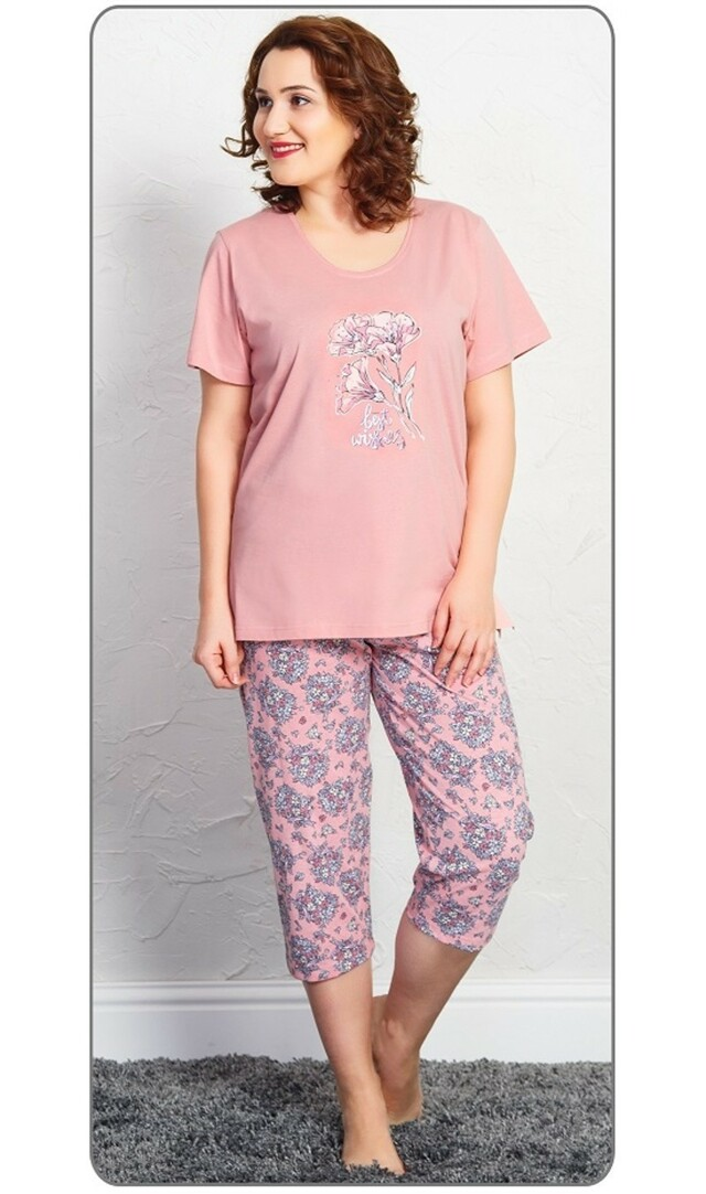 Dámské pyžamo kapri Marie - starorůžová 1XL