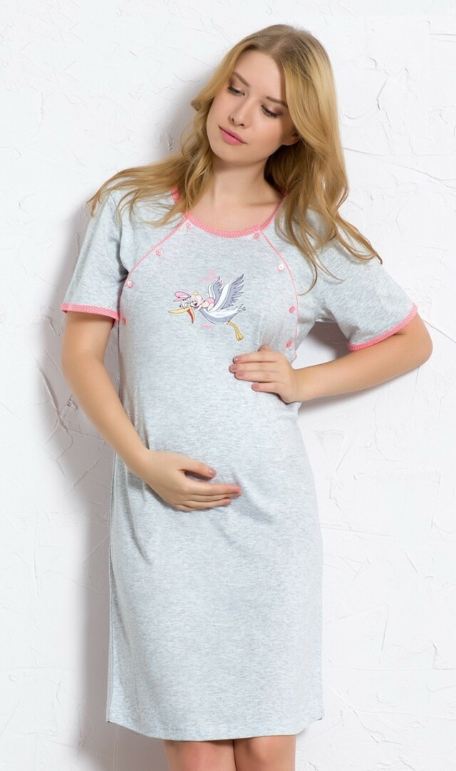 Dámská noční košile mateřská Čáp s miminkem - šedá/modrá XL