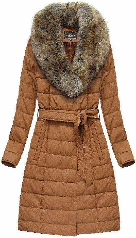 Karamelový dámský zimní kabát (5528) - S (36) - hnědá