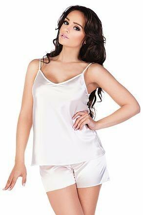 Dámské saténové pyžamo Classic bílé - S