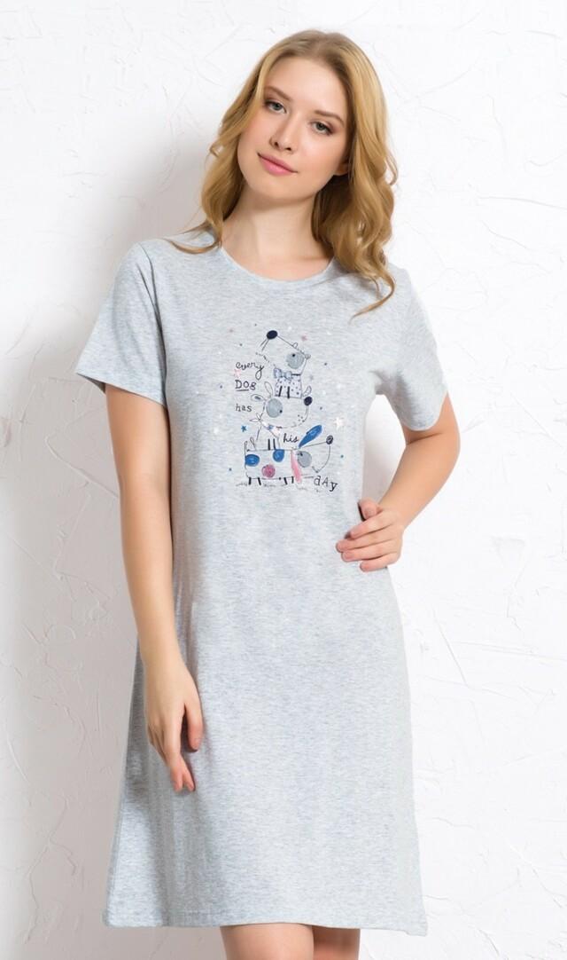 Dámská noční košile s krátkým rukávem Psi - šedá S