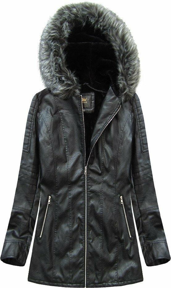 Černý kabátek z eko kůže s kapucí (5525BIG) - 46 - černá
