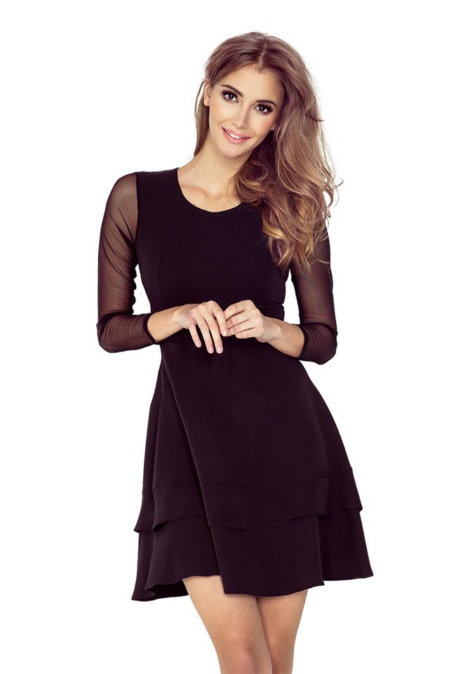 Černé šaty s tylovými rukávy 141-6 - XS