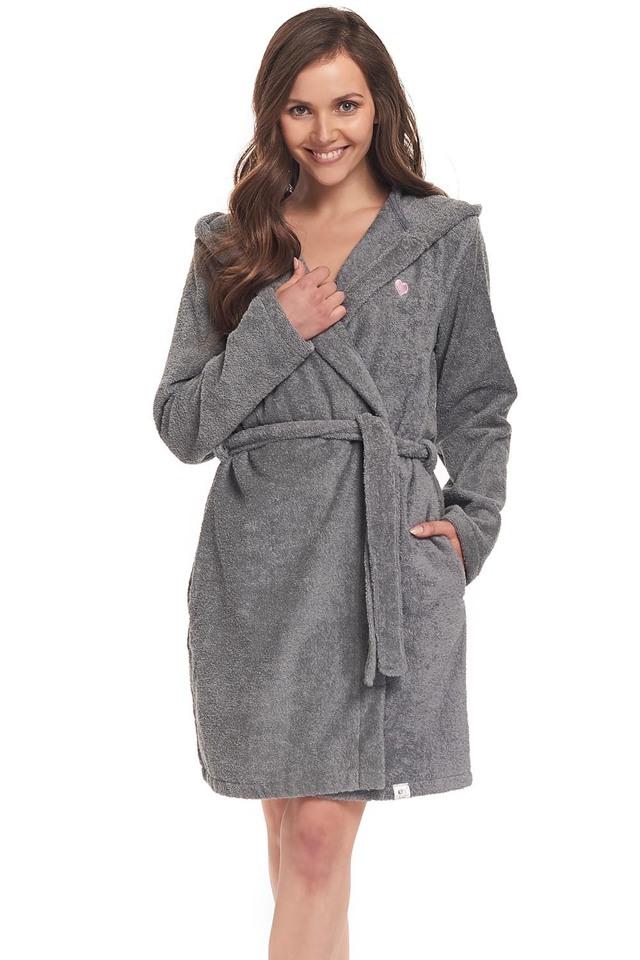 Dámský župan Dn-nightwear SDF.9303 - S - dark grey