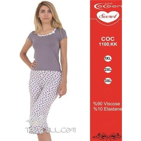 Dámské capri pyžamo 1100 KK Cocoon - XXL - šedá s bílou