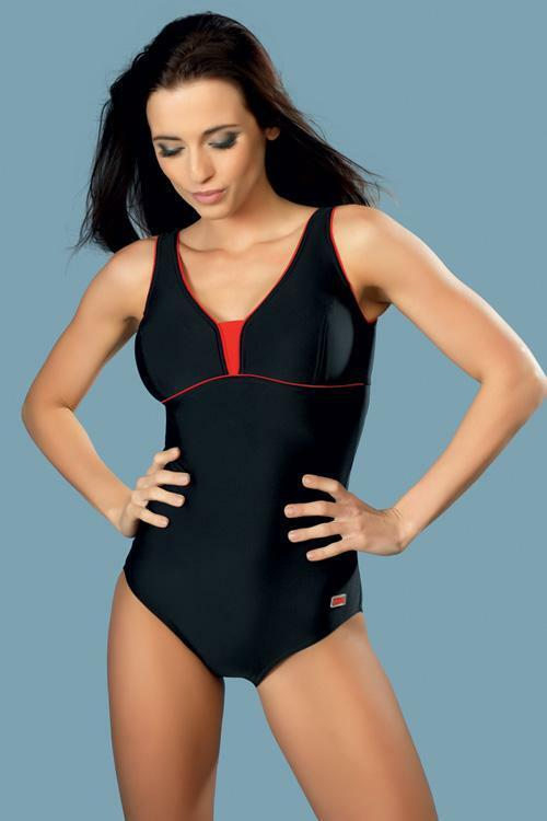 Jednodílné plavky gWINNER Anika I - 42 - černo-červená