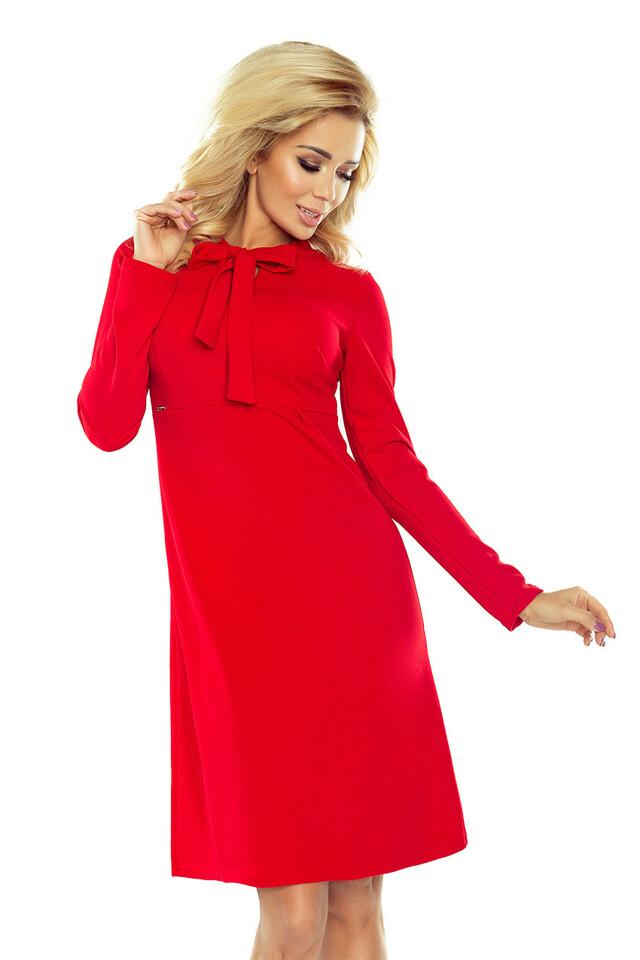 158-2 OLA Červené trapézové šaty se zavazováním pod krkem - S