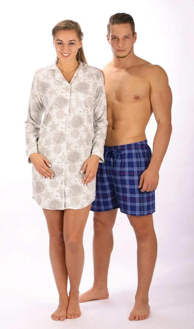 Dámská noční košile s dlouhým rukávem Vločka - šedá S