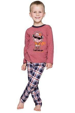 Chlapecké pyžamo Frantík kocourek vínové
