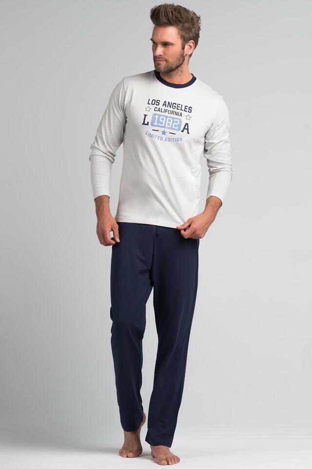 Pánské pyžamo Rossli SAM-PY 062 - M - okrová/grafitová