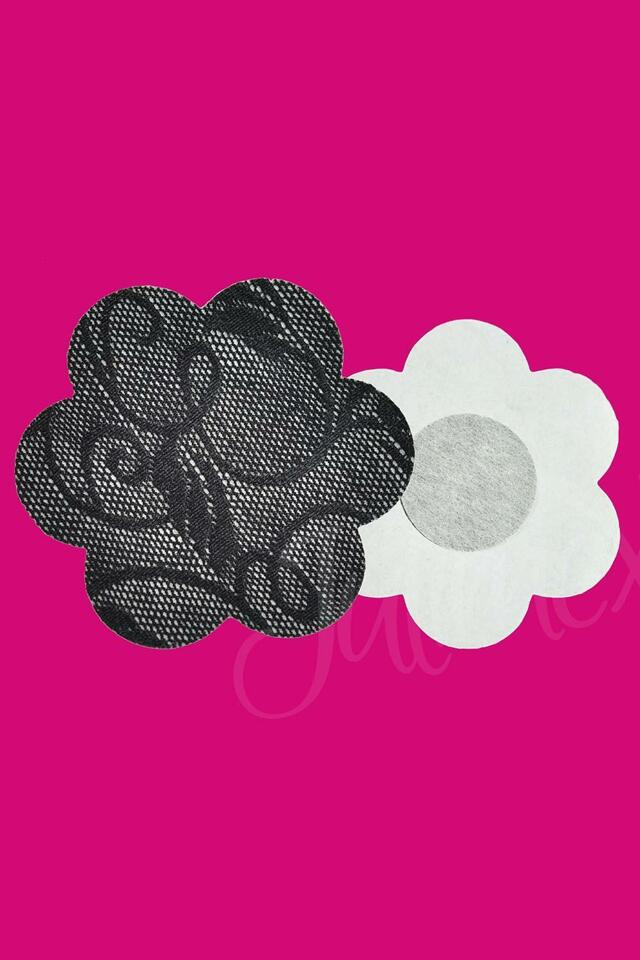 Krytky na bradavky Julimex PS-06 - UNI - černá krajka
