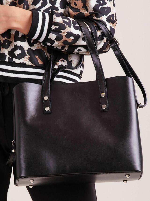Černá elegantní kožená kabelka - ONE SIZE