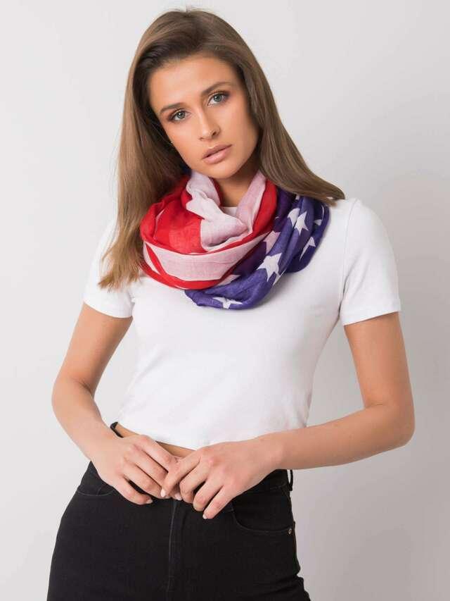 Bílý a červený šátek s potiskem - jedna velikost