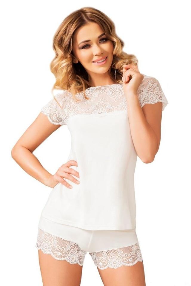 Dámské krajkové pyžamo Milos ecru - XL