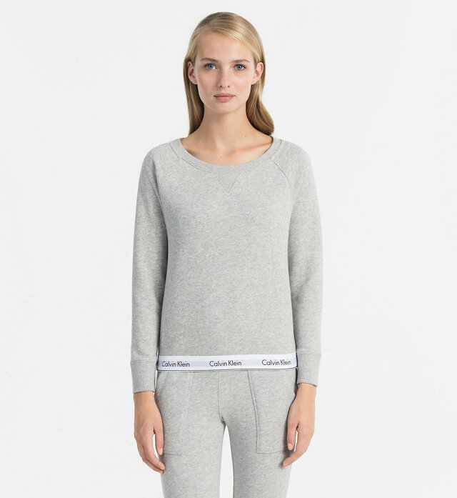 Dámská mikina QS5718E-020 šedá - Calvin Klein