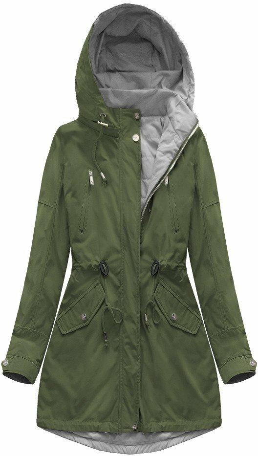Oboustranná bunda parka v khaki-šedé barvě s kapucí (W0232) - XL (42) - khaki