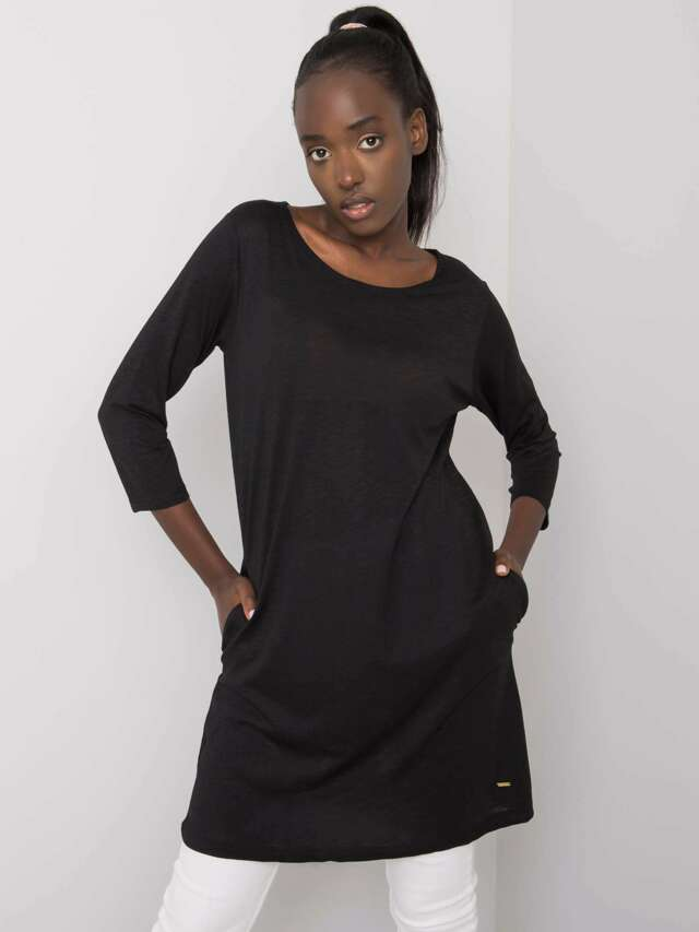 Černá bavlněná tunika - S