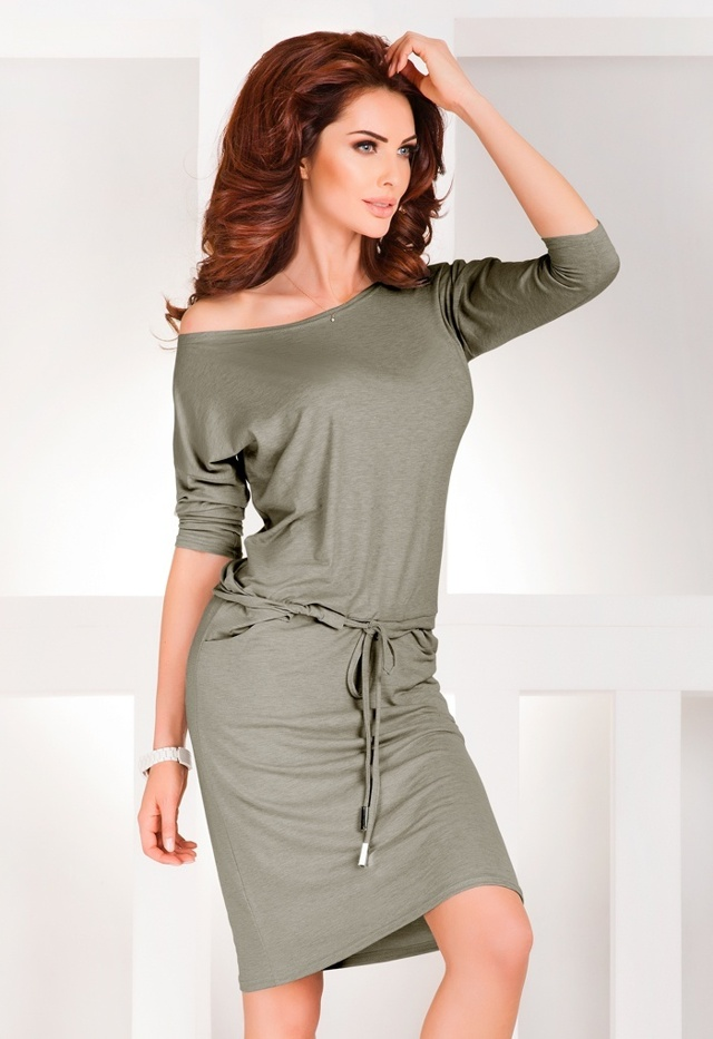 Středně šedé žíhané šaty 13-33A