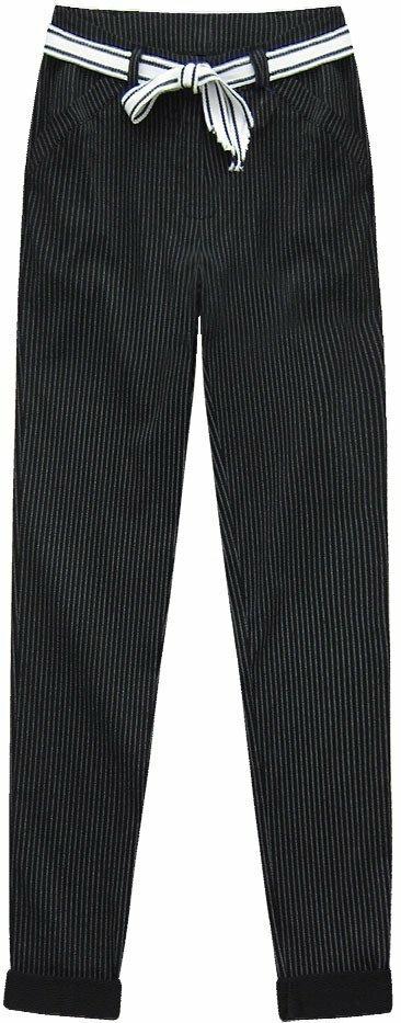 Elegantní černé pruhované kalhoty (2072) - L (40) - černá
