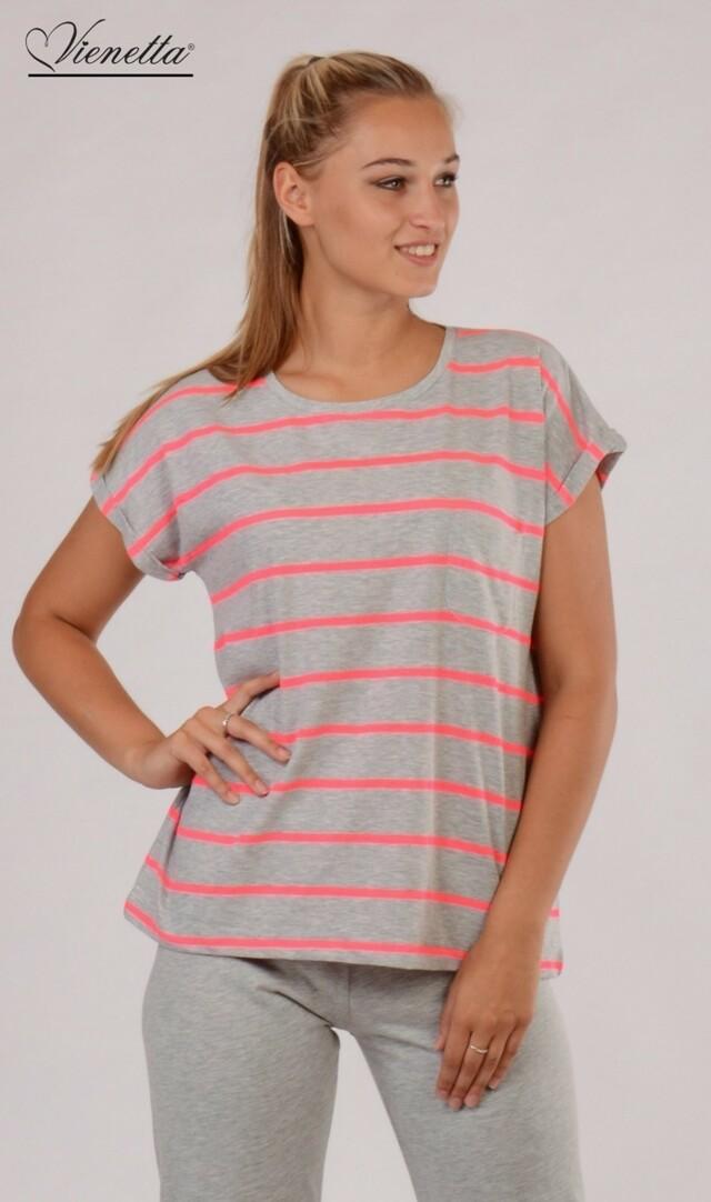 Dámské pyžamo kapri Casual - šedá/růžová L