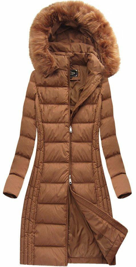 Karamelová dámská zimní bunda (7753) - S (36) - hnědá