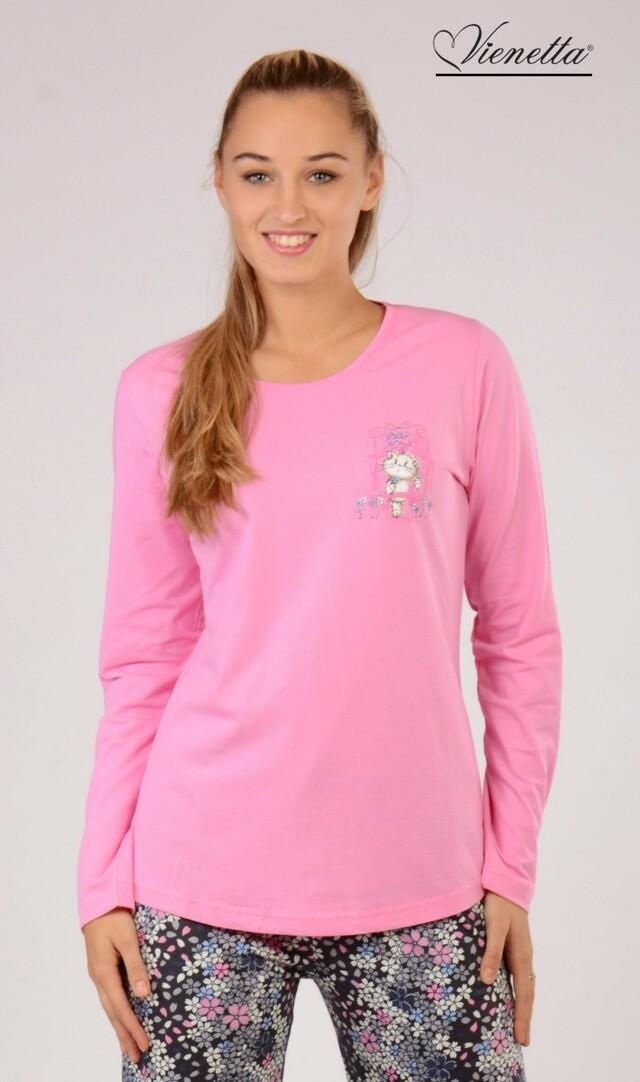 Dámské pyžamo Malá kočka 5143 - Vienetta - S - růžová