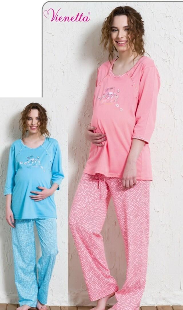 Mateřské pyžamo dlouhé Méďa a kopretiny - lososová L
