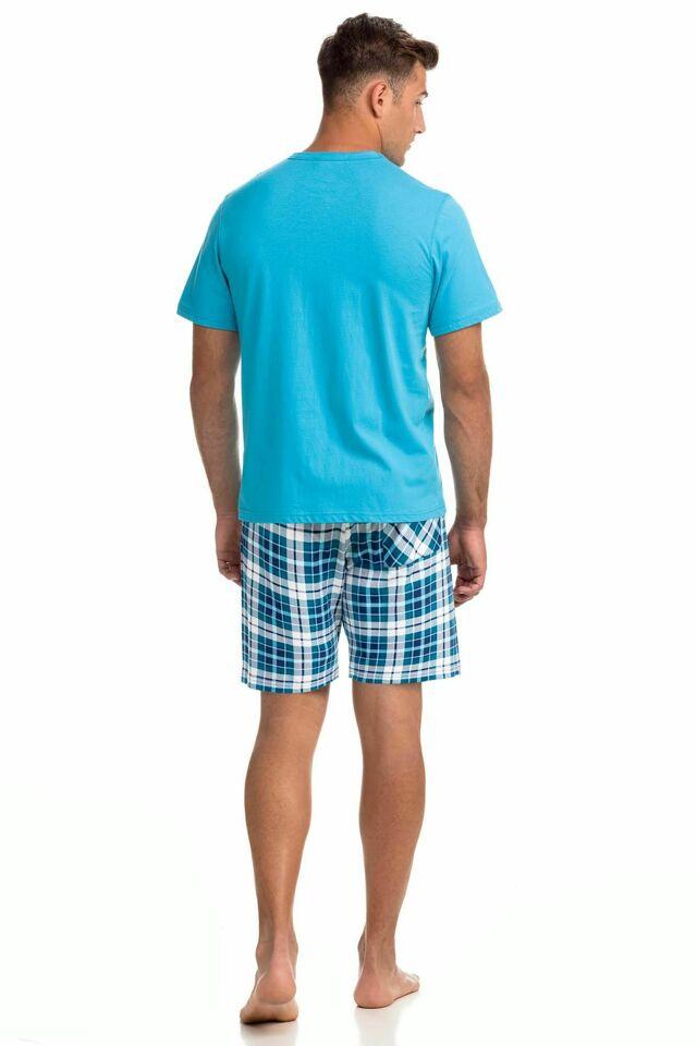 Pohodlné dvoudílné pánské pyžamo 14781 - XXL - tyrkys