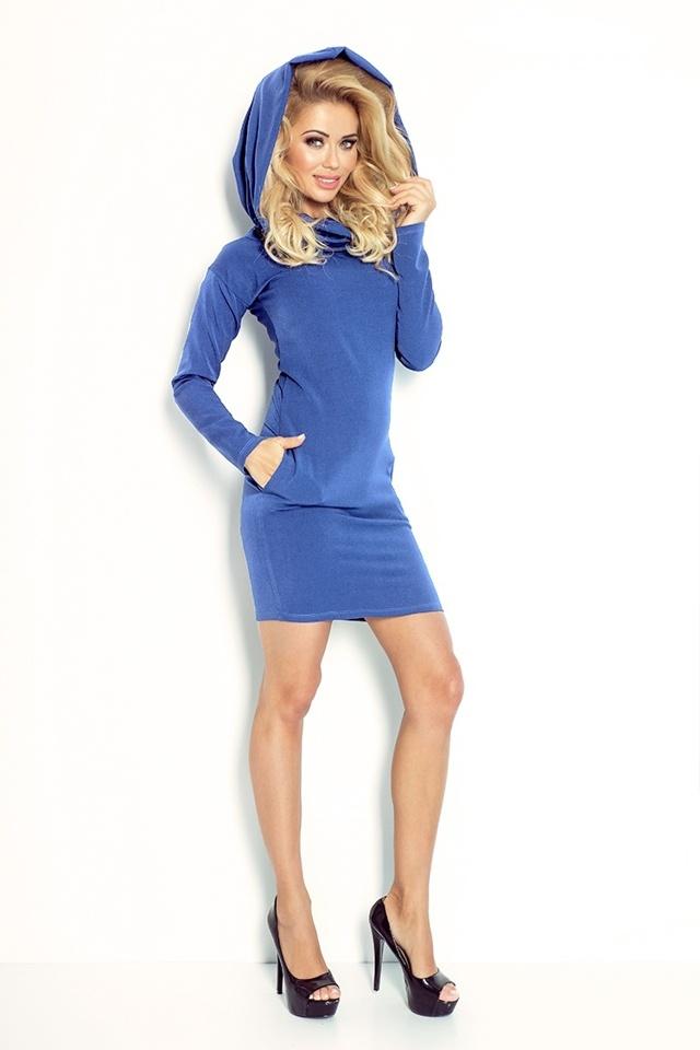 Džínově modré šaty s rolákem 96-3 - XL