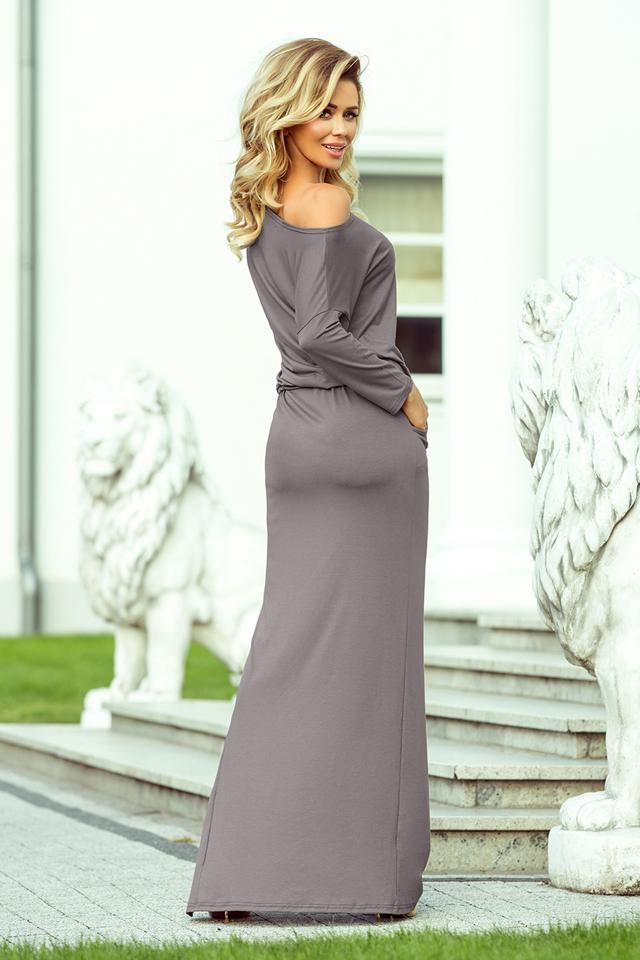 c2acf7e2bd96 Šedé dámské sportovní šaty v maxi délce s rozparkem 220-6(1160333) -