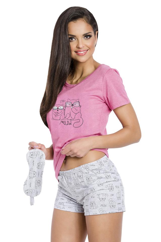 Dámské pyžamo Matylda růžové s kočičkami - L