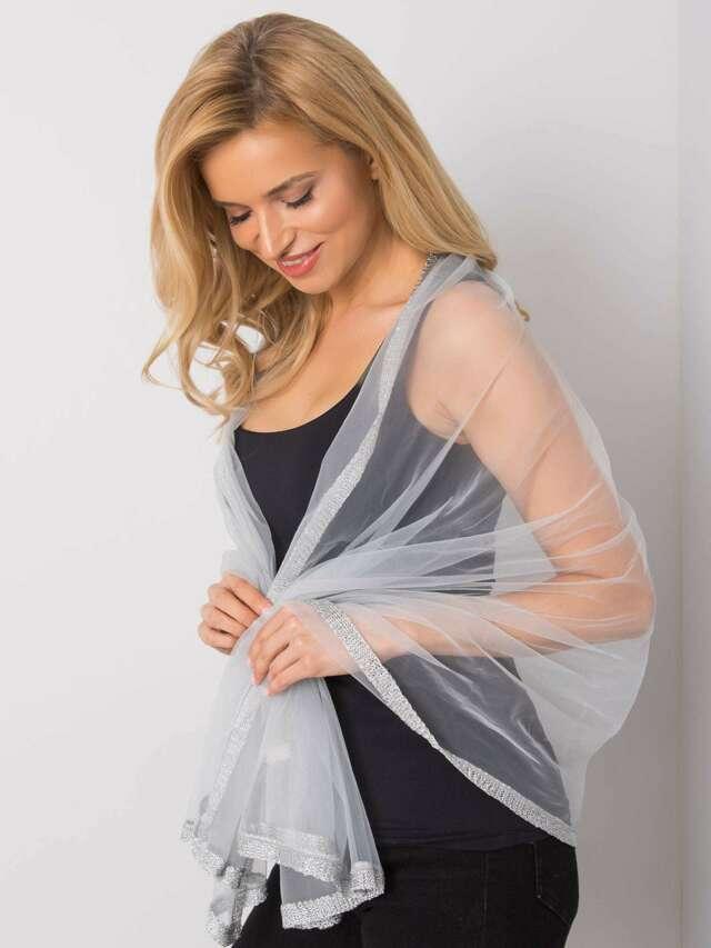 Dámský šedý šátek s ozdobnou povrchovou úpravou - jedna velikost