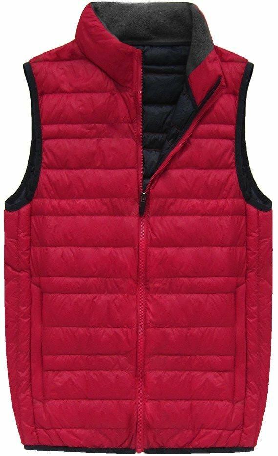 Červená pánská vesta s přírodní vycpávkou (5008) - M - červená