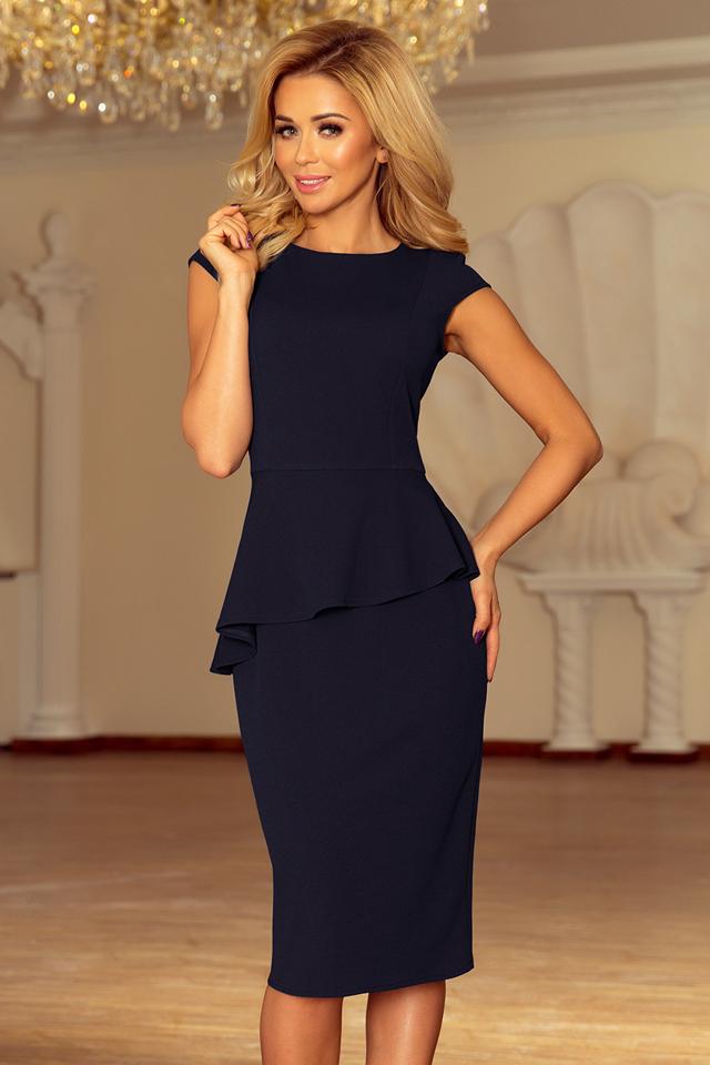 Elegantní tmavě modré dámské midi šaty s volánkem 192-4 - M 2f0b969bdd